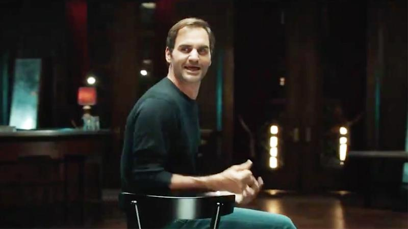Roger Federer (pictured) singing during a new commerical.