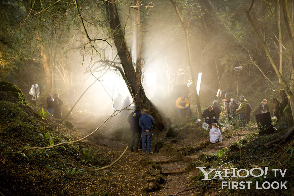 The forests outside Camelot were shot on location in Wales, where the crew and actors had to endure cold, rainy, wet conditions - that led to impossibly beautiful on-screen (and behind-the-scenes) moments.
