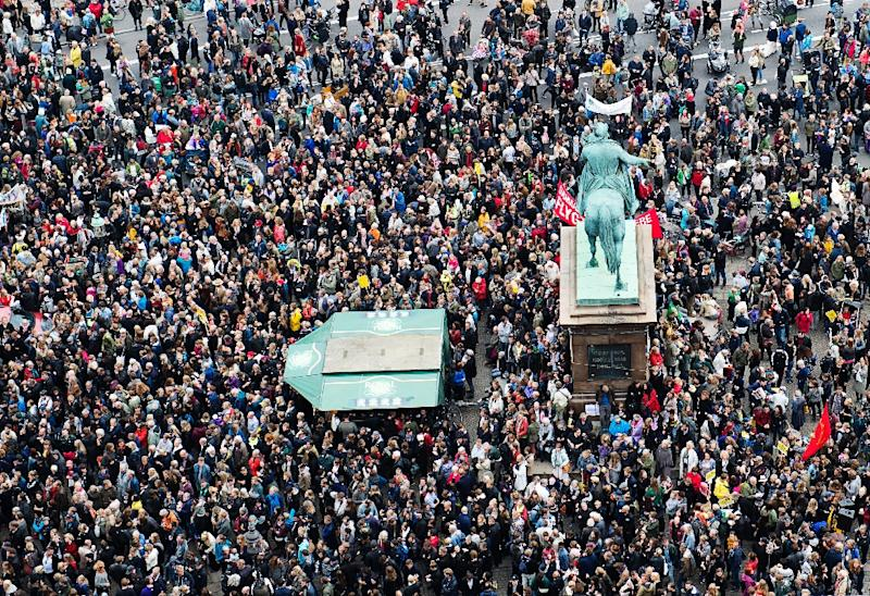Some 30,000 people join a rally in Copenhagen on September 12, 2015 in favour of