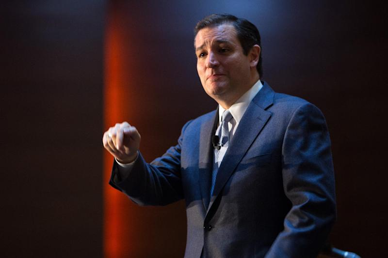 U.S. Sen. Ted Cruz (R-Texas) speaks Friday, Oct. 25, 2013, during the Republican Party of Iowa's Reagan Dinner at the Iowa Events Center in Des Moines, Iowa. (AP Photo/Scott Morgan)