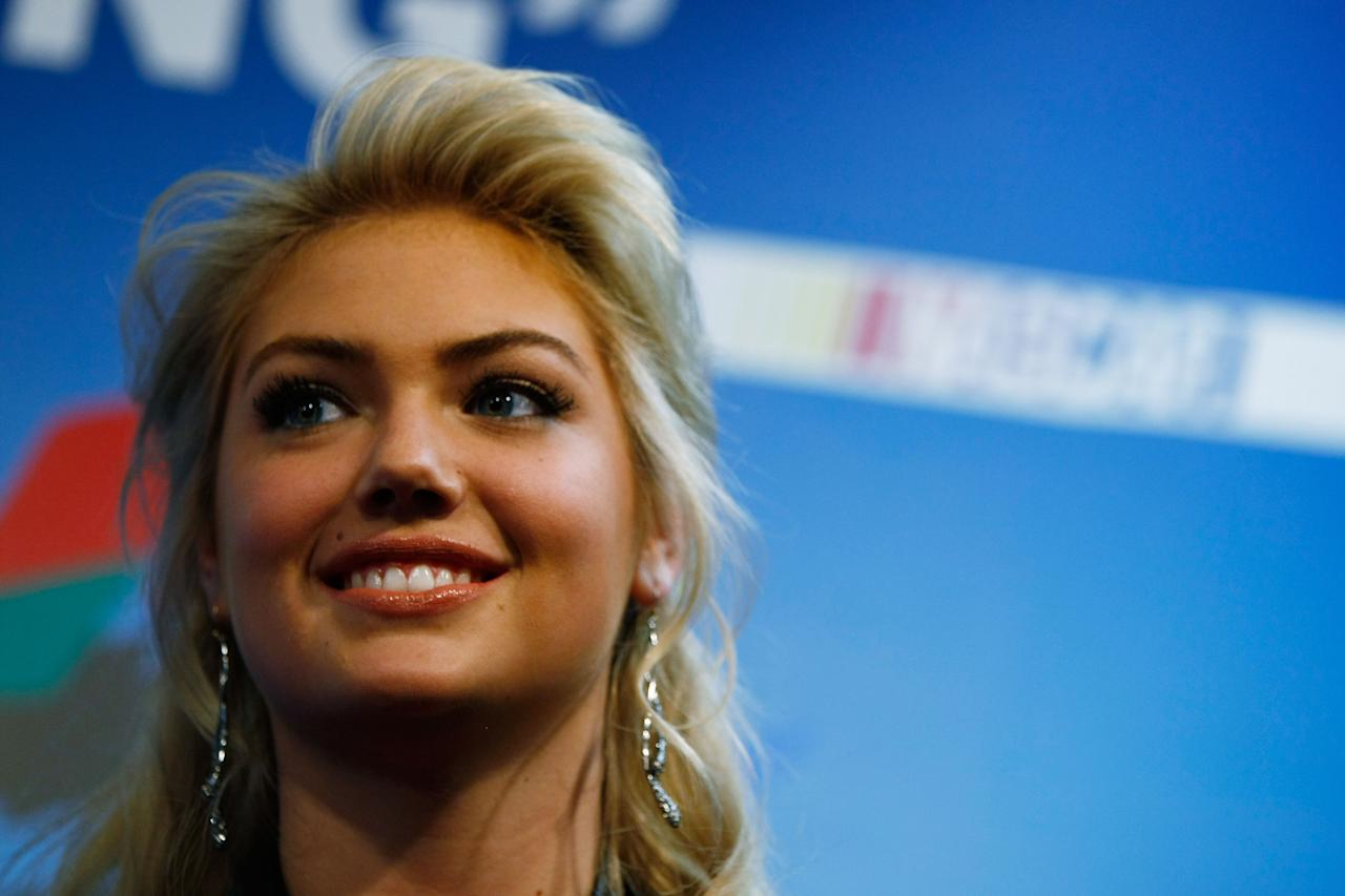 DAYTONA BEACH, FL - FEBRUARY 26:  Model Kate Upton addresses the media during a news conference prior to the start of the NASCAR Sprint Cup Series Daytona 500 at Daytona International Speedway on February 26, 2012 in Daytona Beach, Florida.  (Photo by Jonathan Ferrey/Getty Images for NASCAR)