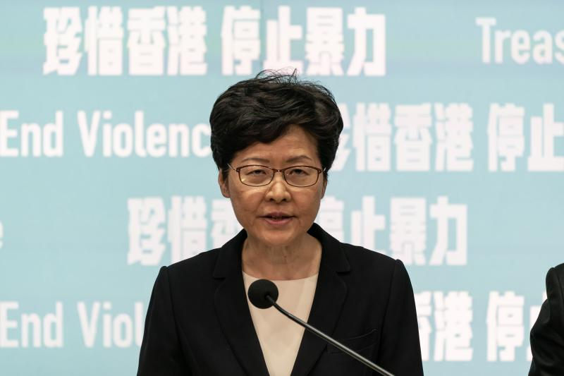 HONG KONG, CHINA - October 4: Hong Kong Chief Executive Carrie Lam speaks during a press conference at the Central Government Complex on October 4, 2019 in Hong Kong, China. Hong Kong's government invoked emergency powers on Friday to introduce an anti-mask law which bans people from wearing masks at public assemblies as the city remains on edge with the anti-government movement entering its fourth month. Pro-democracy protesters marked the 70th anniversary of the founding of the People's Republic of China in Hong Kong as one student protester was shot in the chest in the Tsuen Wan district during with mass demonstrations across Hong Kong. Protesters in Hong Kong continue to call for Chief Executive Carrie Lam to meet their remaining demands since the controversial extradition bill was withdrawn, which includes an independent inquiry into police brutality, the retraction of the word riot to describe the rallies, and genuine universal suffrage, as the territory faces a leadership crisis. (Photo by Anthony Kwan/Getty Images)