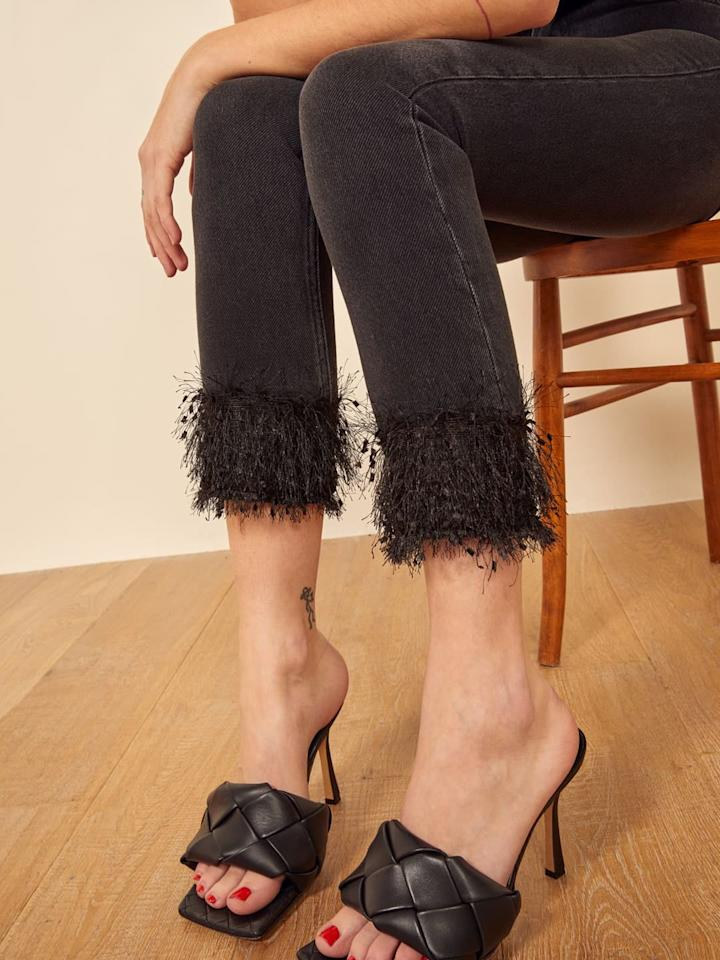 "<p>These <a href=""https://www.popsugar.com/buy/Reformation-Julia-Fringe-Hem-Jeans-541968?p_name=Reformation%20Julia%20Fringe%20Hem%20Jeans&retailer=thereformation.com&pid=541968&price=148&evar1=fab%3Aus&evar9=47130094&evar98=https%3A%2F%2Fwww.popsugar.com%2Ffashion%2Fphoto-gallery%2F47130094%2Fimage%2F47130102%2FReformation-Julia-Fringe-Hem-Jean&list1=shopping%2Cdenim%2Cjeans%2Creformation&prop13=api&pdata=1"" rel=""nofollow"" data-shoppable-link=""1"" target=""_blank"" class=""ga-track"" data-ga-category=""Related"" data-ga-label=""https://www.thereformation.com/products/julia-fringe-hem-jean?color=Monterey&amp;via=Z2lkOi8vcmVmb3JtYXRpb24td2VibGluYy9Xb3JrYXJlYTo6Q2F0YWxvZzo6Q2F0ZWdvcnkvNWE2YWRmZDJmOTJlYTExNmNmMDRlOWM0"" data-ga-action=""In-Line Links"">Reformation Julia Fringe Hem Jeans</a> ($148) are so much fun. We love them for a night out.</p>"