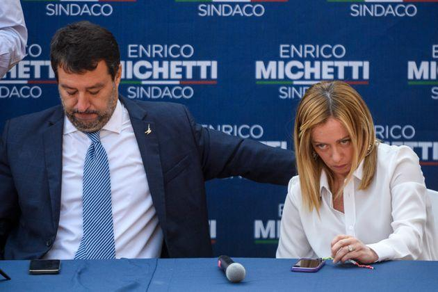 ROME, ITALY - OCTOBER 1: Matteo Salvini (Lega political party leader) and Giorgia Meloni (Fratelli d'Italia Leader) attend a press conference organized by right-wing parties, Lega, Fratelli d'Italia and Forza Italia as part of the closing of the electoral campaign for the Mayor of Rome Enrico Michetti, at Spinaceto district, on October 1, 2021 in Rome, Italy. The mayoral elections in Italy's major cities including Rome, Milan, Turin and Naples - previously due to be held between 15 April and 15 June - will be held between 15 September and 15 October, according to a decree approved by the cabinet due to the Coronavirus pandemic. (Photo by Antonio Masiello/Getty Images) (Photo: Antonio Masiello via Getty Images)