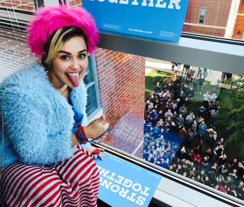 """<p>The singer is #TeamHillary. """"Campaigned for @hillaryclinton today in GMU in VA, encouraging young people to volunteer and vote!!!!"""" she wrote. (Photo: <a rel=""""nofollow"""" href=""""https://www.instagram.com/p/BL4UwxqhhSC/?taken-by=mileycyrus&hl=en"""">Instagram</a>) </p>"""