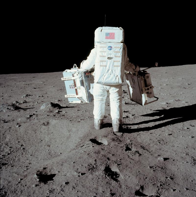 Apollo 11 space mission US astronaut Buzz Aldrin is seen conducting experiment on the moon's surface on a picture taken by Neil Armstrong (AFP/Getty Images)
