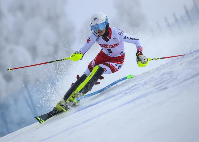 Austria's Katharina Truppe competes during an alpine ski, women's slalom in Levi, Finland, Saturday, Nov. 23, 2019. (AP Photo/Alessandro Trovati)