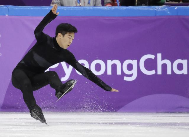 <p>United States' Nathan Chen falls in the men's single short program team event at the 2018 Winter Olympics in Gangneung, South Korea, Friday, Feb. 9, 2018. (AP Photo/Bernat Armangue) </p>