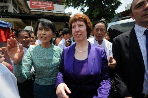 "Catherine Ashton has hailed a ""new chapter"" in relations with Myanmar"