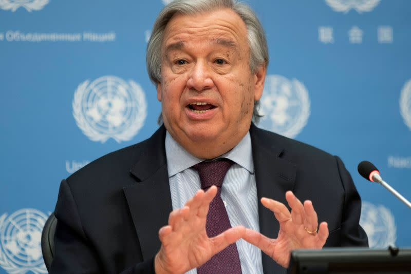 FILE PHOTO: FILE PHOTO: United Nations Secretary-General Guterres speaks during a news conference at U.N. headquarters in New York City, New York