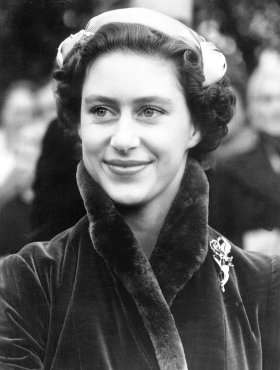 UNITED KINGDOM - OCTOBER 31:  Princess MARGARET attending her friend's marriage. Miss Elizabeth CAREW POLE married in North Mimms Park's chapel near Hatfield.  (Photo by Keystone-France/Gamma-Keystone via Getty Images)