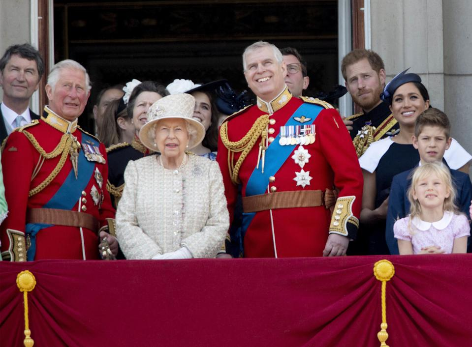 08-06-2019 England The ceremony of the Trooping the Colour, marking the monarch's official birthday, in London. Queen Elizabeth II Camilla, Duchess of Cornwall, Vice Admiral Timothy Laurence, Prince Charles, Prince of Wales Prince Andrew Britain's Princess Beatrice of York Britain's Princess Anne, Princess Royal, Queen Elizabeth II Princess Eugenie of York Lady Louise Windsor, Prince Andrew, Duke of York Prince Harry, Duke of Sussex, Meghan, Duchess of Sussex ( PPE/Nieboer /Sipa USA)