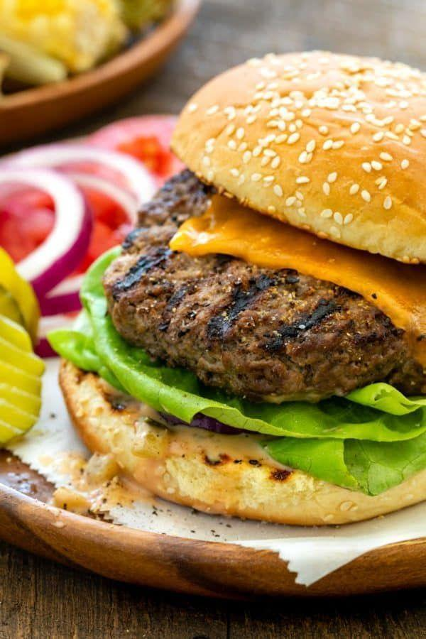 """<p>You'd better believe cheeseburgers are a great high-protein meal. Swap classic cheddar for gouda or goat cheese to make 'em feel fancy.</p><p><a class=""""link rapid-noclick-resp"""" href=""""https://www.jessicagavin.com/grilled-burgers/"""" rel=""""nofollow noopener"""" target=""""_blank"""" data-ylk=""""slk:GET THE RECIPE"""">GET THE RECIPE</a></p><p><em>Per serving: 668 calories, 46 g fat (15 g saturated), 1098 mg sodium, 27 g carbs, 1 fiber, 7 g sugar, 34 g protein</em></p>"""