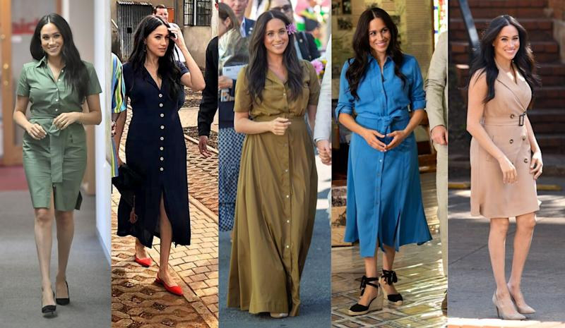Meghan Markle's belted looks from the royal tour. Image via Getty.
