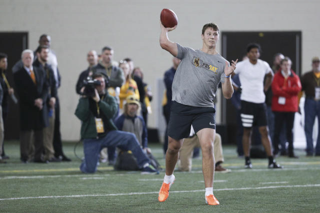 Josh Allen was impressive at Wyoming's pro day. (AP)