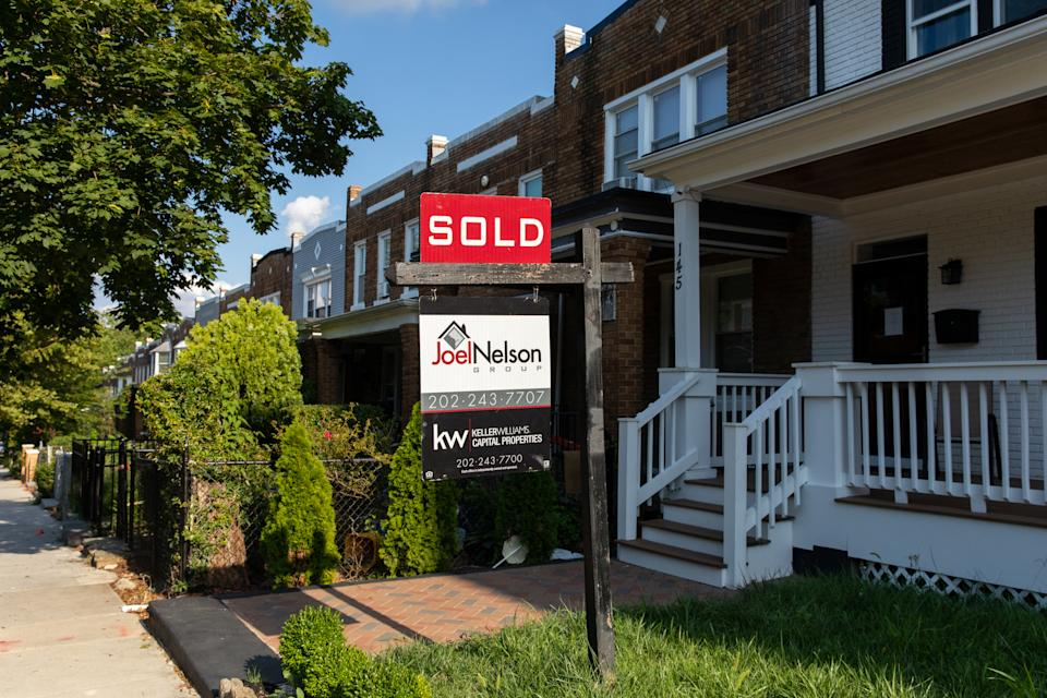 WASHINGTON, D.C. - AUGUST 8: A home sale sign in the Eckington neighborhood of Washington, D.C. on Saturday, August 8, 2020. (Photo by Amanda Andrade-Rhoades/For The Washington Post via Getty Images)