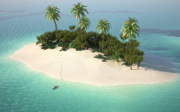 """<span class=""""caption"""">A thought experiment.</span> <span class=""""attribution""""><a class=""""link rapid-noclick-resp"""" href=""""https://www.shutterstock.com/image-illustration/aerial-view-caribbean-desert-island-turquoise-32478721"""" rel=""""nofollow noopener"""" target=""""_blank"""" data-ylk=""""slk:Shutterstock"""">Shutterstock</a></span>"""
