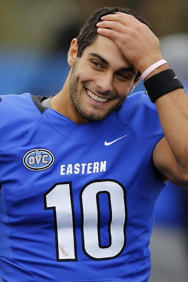 FILE - This Nov. 2, 2013 file photo shows Eastern Illinois quarterback Jimmy Garoppolo on the sideline during the second half of an NCAA football game against Tennessee Tech at O'Brien Field in Charleston, Ill. His (12-1), Panthers are getting ready to play Friday, Dec. 13, 2013 in the Football Championship Subdivision quarterfinals against Towson. And they have in Jimmy Garoppolo , a quarterback who has rewritten the Panther and Ohio Valley Conference record books and is probably headed to the NFL. (AP Photo/ Stephen Haas, File)