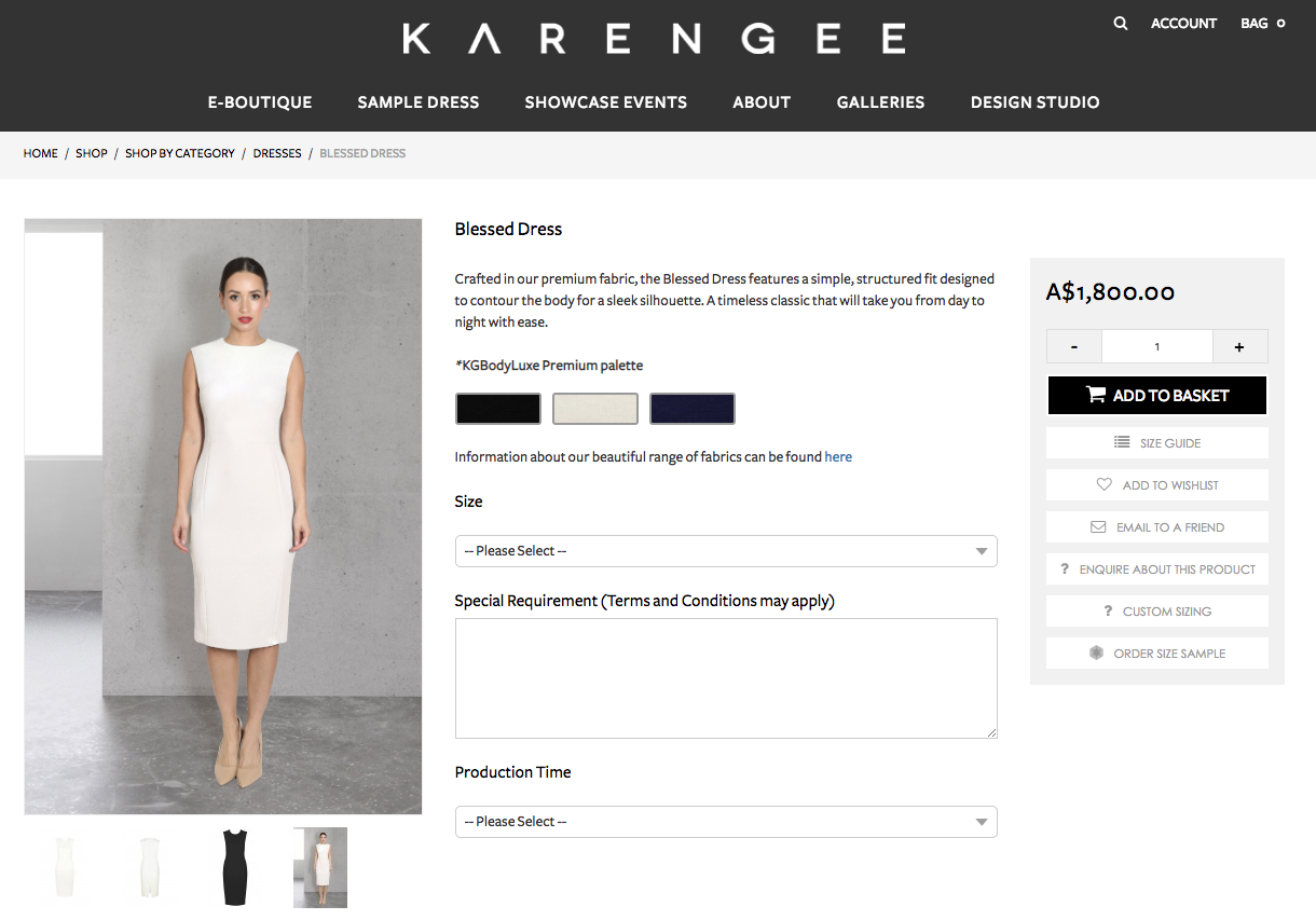 """<p>The dress retails for $1,800, and is described on their website as """"a simple, structured fit designed to contour the body for a sleek silhouette"""". Photo: Karen Gee </p>"""