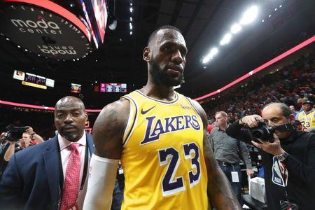 Oct 18, 2018; Portland, OR, USA; Los Angeles Lakers forward LeBron James (23) walks off the court after the game against the Portland Trail Blazers at Moda Center. Mandatory Credit: Jaime Valdez-USA TODAY Sports