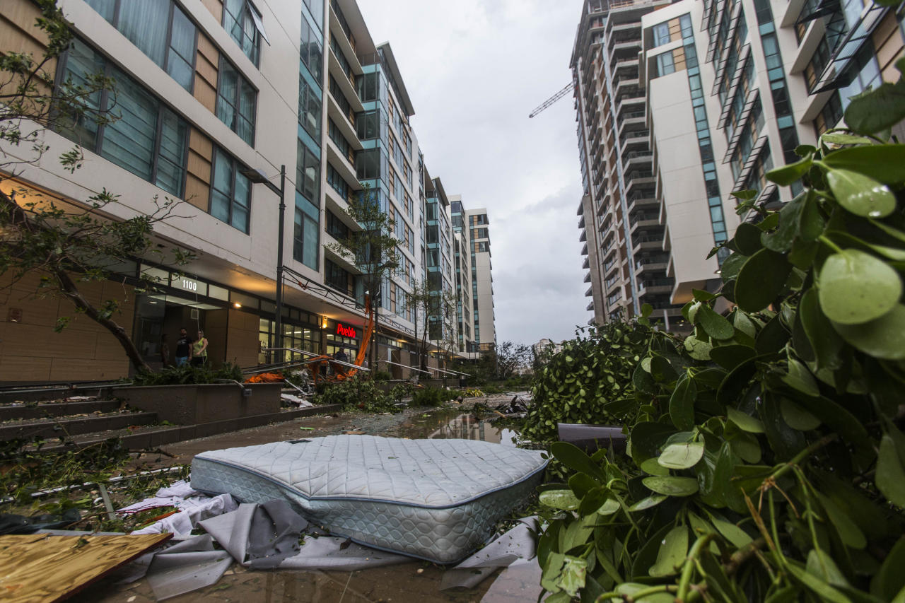 <p>A mattress, that fell from the third floor lays at ground level surrounded with debris from neighboring apartments at Ciudadela complex in Santurce, San Juan, Puerto Rico, Sept. 20, 2017. (Photo: Dennis M. Rivera Pichardo for The Washington Post via Getty Images) </p>