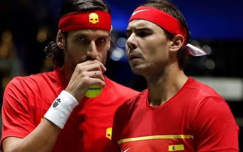 <span>Rafa Nadal and Feliciano Lopez teamed up in the doubles to book Spain's place in Sunday's final</span> <span>Credit: Rex </span>