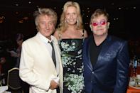 "CENTURY CITY, CA - MAY 03: (L-R) Musician Rod Stewart, Penny Stewart and musician Elton John attend the 20th Annual Race To Erase MS Gala ""Love To Erase MS"" at the Hyatt Regency Century Plaza on May 3, 2013 in Century City, California. (Photo by Michael Buckner/Getty Images for Race To Erase MS)"
