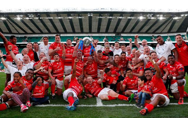 The Army celebrate their victory at Twickenham - AFP