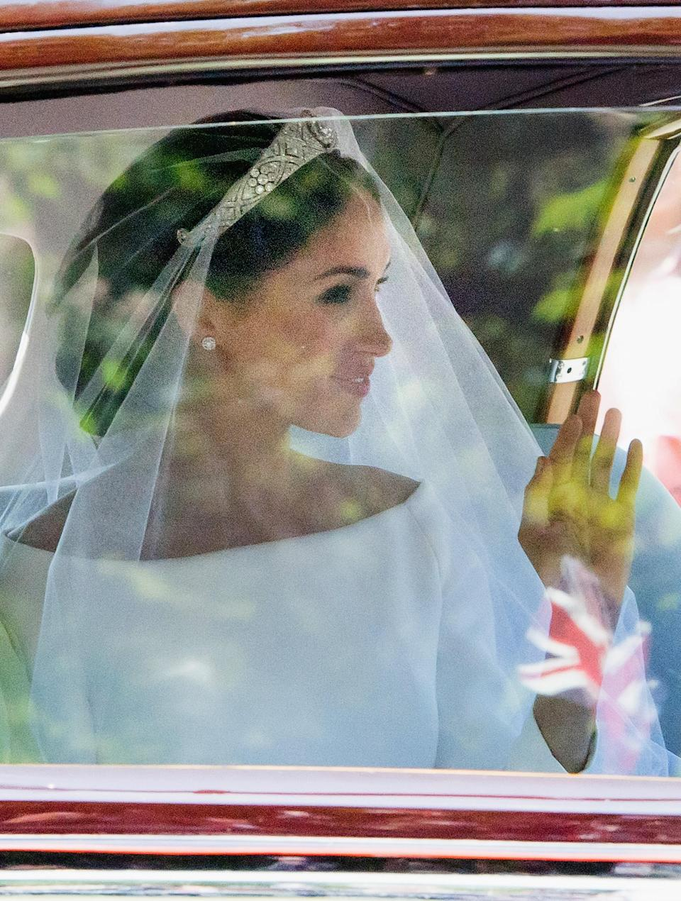 <p>The detachable brooch on Meghan Markle's tiara dates back to 1893 and was gifted to Queen Mary on her wedding day. (Photo: Samir Hussein/WireImage) </p>