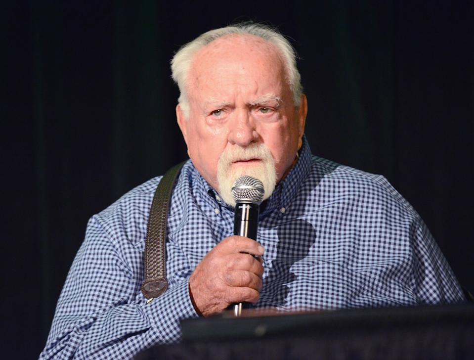 BURBANK, CA - SEPTEMBER 16: Actor Wilford Brimley attends Day 2 of the 2017 Son Of Monsterpalooza Convention held at Marriott Burbank Airport Hotel on September 16, 2017 in Burbank, California. (Photo by Albert L. Ortega/Getty Images)