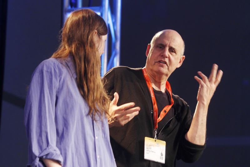 Jeffrey Tambor, right, gives student Kate Sheil direction during his acting workshop at the SXSW Film Festival and Conference in Austin, Texas, on Sunday, March 11, 2012. (AP Photo/Jack Plunkett)