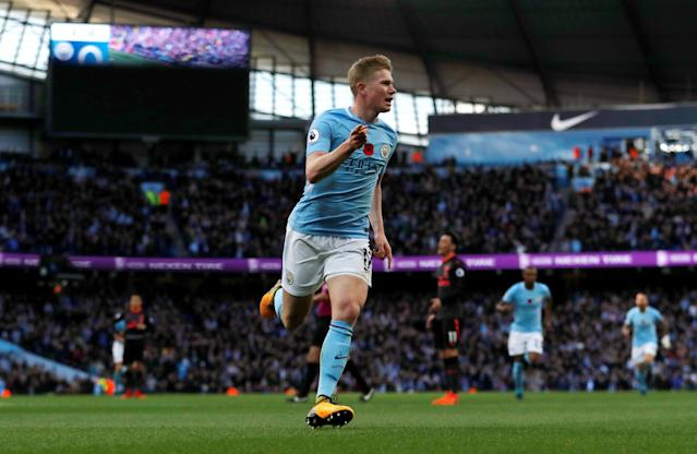 "<a class=""link rapid-noclick-resp"" href=""/soccer/players/kevin-de-bruyne/"" data-ylk=""slk:Kevin De Bruyne"">Kevin De Bruyne</a>'s torrid start to the season has <a class=""link rapid-noclick-resp"" href=""/soccer/teams/manchester-city/"" data-ylk=""slk:Manchester City"">Manchester City</a> willing (and needing) to pony up more money. (Reuters)"