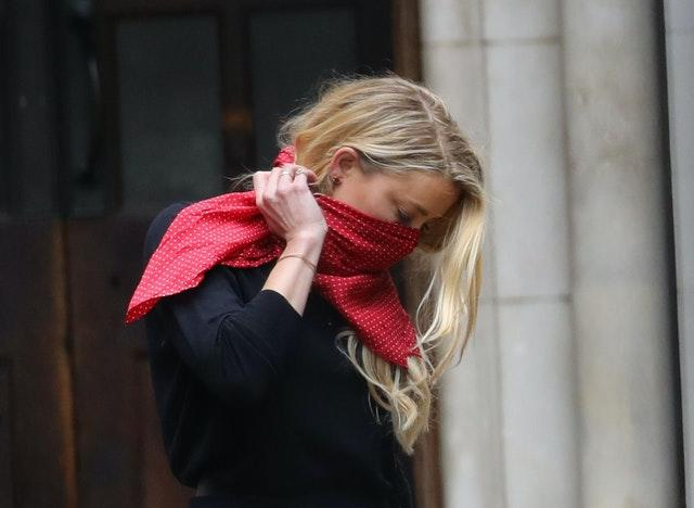Actress Amber Heard leaves the High Court in London
