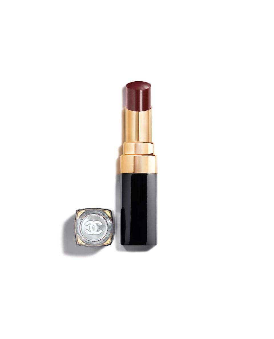 "<p>""I love this slick of dark loveliness,"" Graham said of the <span>Chanel Rouge Coco Flash in Noir Moderne</span> ($38). ""It's a deep dark red but the sheer texture makes it feel fresh and young and cool."" It also means that it's a bit easier to wear if you want to try a dark lipstick but hesitant to go full-on matte. On those with a deeper complexion and naturally-dark lips, Graham notes this will be more of a neutral color with a hint of plum.</p>"
