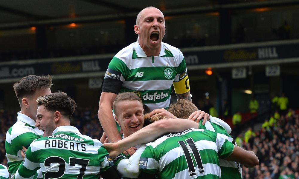 Scott Sinclair, No11, is congratulated on scoring Celtic's second goal during their Scottish Cup semi-final victory against Rangers at Hampden Park