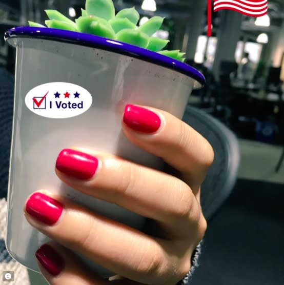 A lot of ladies are wearing this nail polish to the polls for this super cool reason