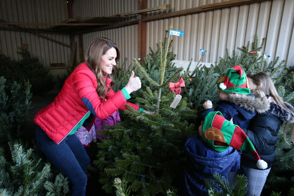 Kate helped by children picks a Christmas tree during activities with families and children to mark her Family Action patronage in 2019. (Jonathan Brady - WPA Pool/Getty Images)