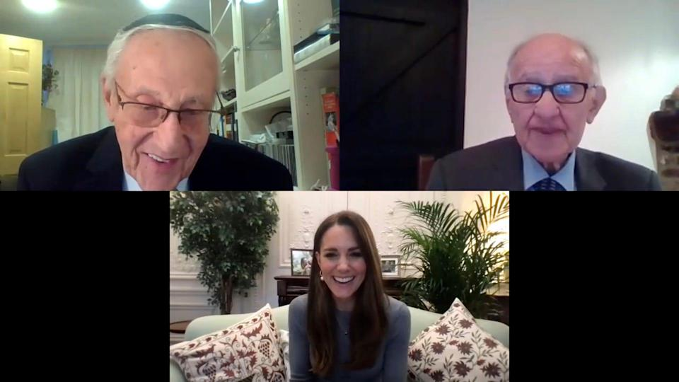 Duchess Kate of Cambridge speaks during a video call with Manfred Goldberg and Zigi Shipper, nonagenarian Holocaust survivors as she spoke with survivors and youth ambassadors from the Holocaust Educational Trust to mark Holocaust Memorial Day, Jan. 27, 2021.
