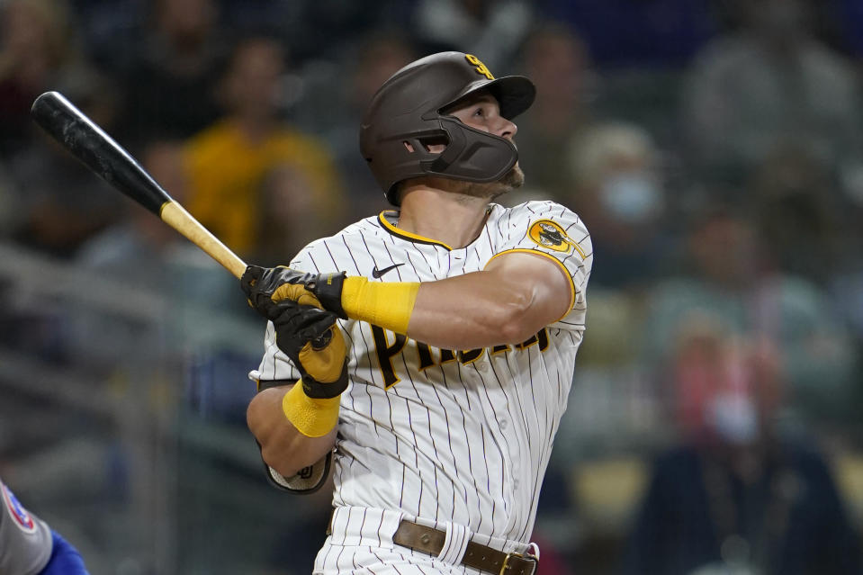 San Diego Padres' Brian O'Grady watches his two-run home run hit during the third inning of a baseball game against the Chicago Cubs, Monday, June 7, 2021, in San Diego. (AP Photo/Gregory Bull)
