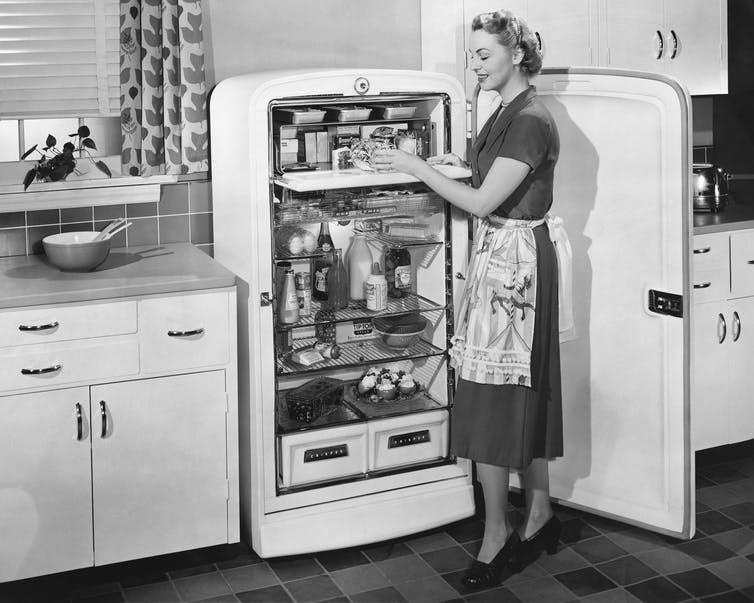 1950s woman showing off her fridge.