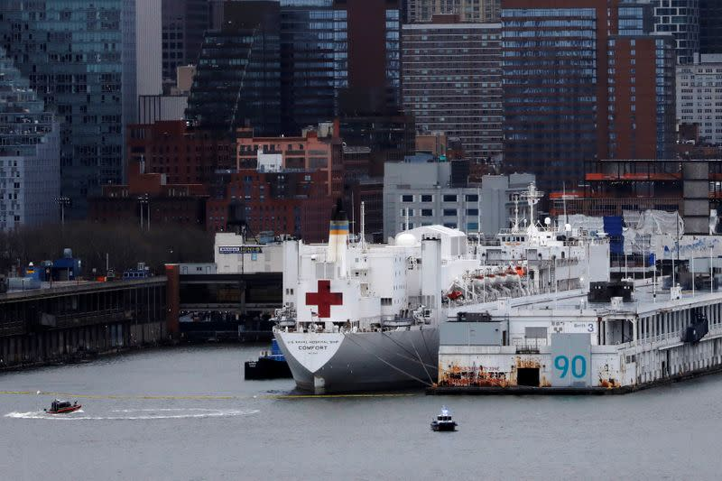 The USNS Comfort is seen docked at Pier 90 in Manhattan during the outbreak of the coronavirus disease (COVID-19) in New York