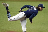Tampa Bay Rays' Tyler Glasnow follows through on a pitch to the Toronto Blue Jays during the first inning of Game 2 of an American League wild-card baseball series Wednesday, Sept. 30, 2020, in St. Petersburg, Fla. (AP Photo/Chris O'Meara)