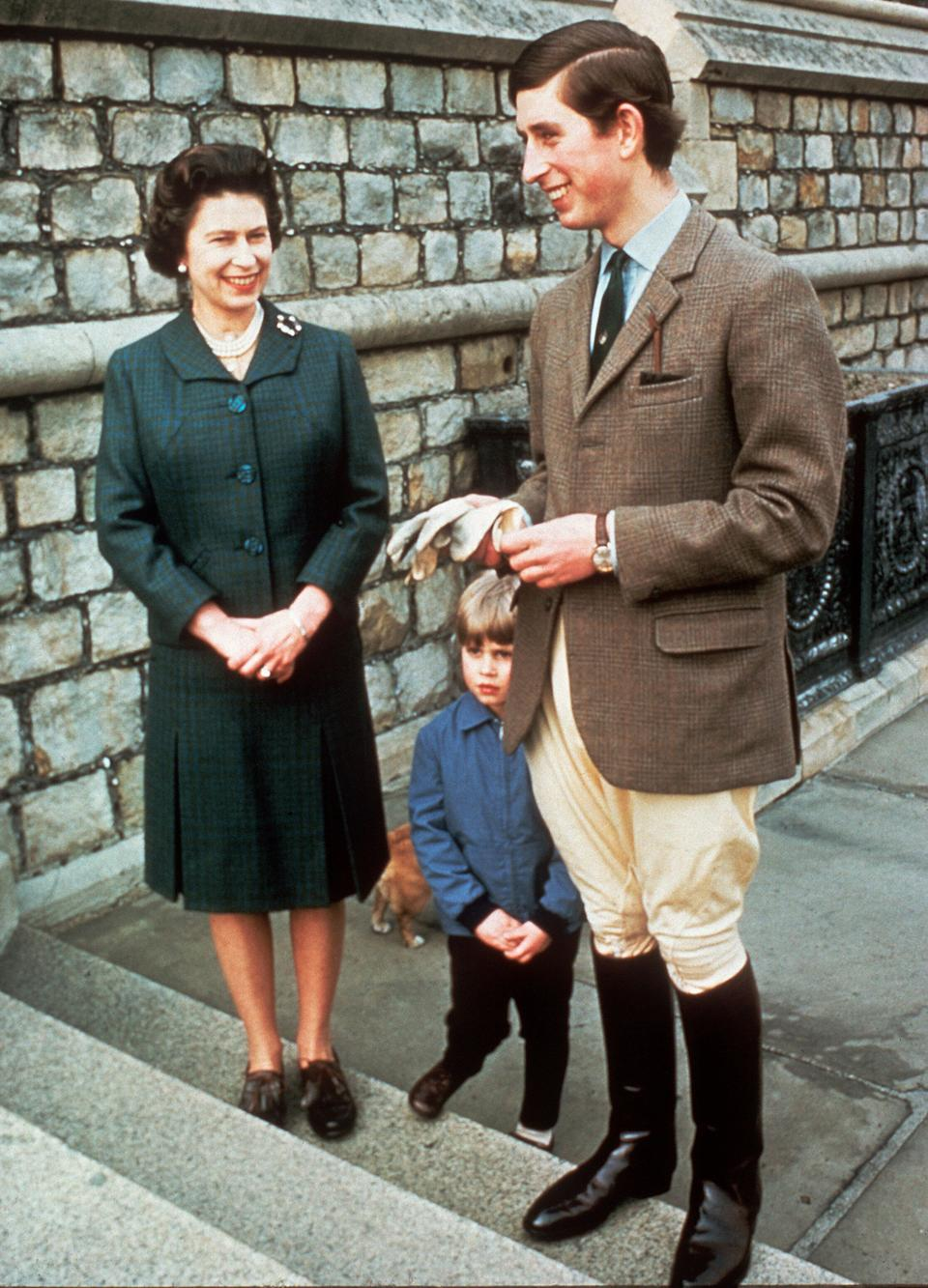 Queen Elizabeth with Prince Charles and Prince Edward in an undated photo.