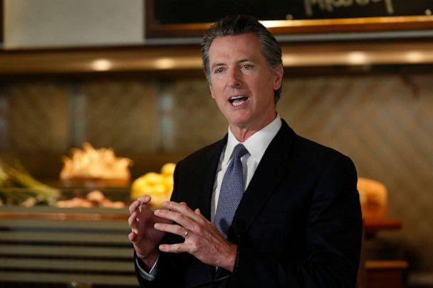 PHOTO: Gov. Gavin Newsom announces new criteria related to coronavirus hospitalizations and testing that could allow counties to open faster than the state, during a news conference at Mustards Grill in Napa, Calif., Monday May 18, 2020. (Rich Pedroncelli/AP)