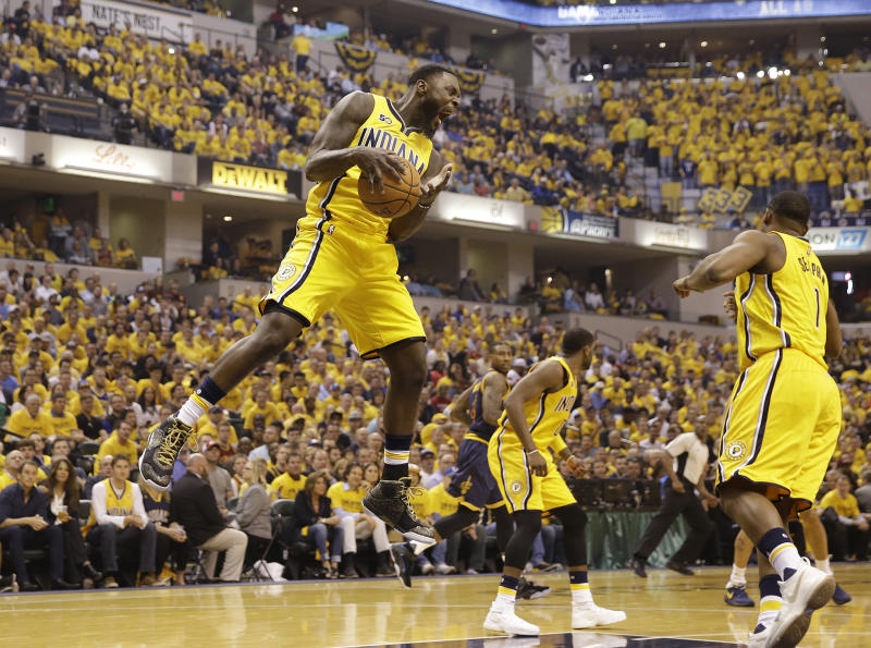 Indiana Pacers' Lance Stephenson grabs a rebound during the first half in Game 3 of the team's first-round NBA basketball playoff series against the Cleveland Cavaliers, Thursday, April 20, 2017, in Indianapolis. (AP Photo/Michael Conroy)