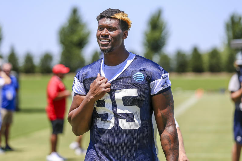 FRISCO, TX - JUNE 14: Dallas Cowboys defensive tackle David Irving (95) walks to the locker room after the Dallas Cowboys mini camp practice on June 14, 2018 at The Star in Frisco, Texas. (Photo by Matthew Pearce/Icon Sportswire via Getty Images)