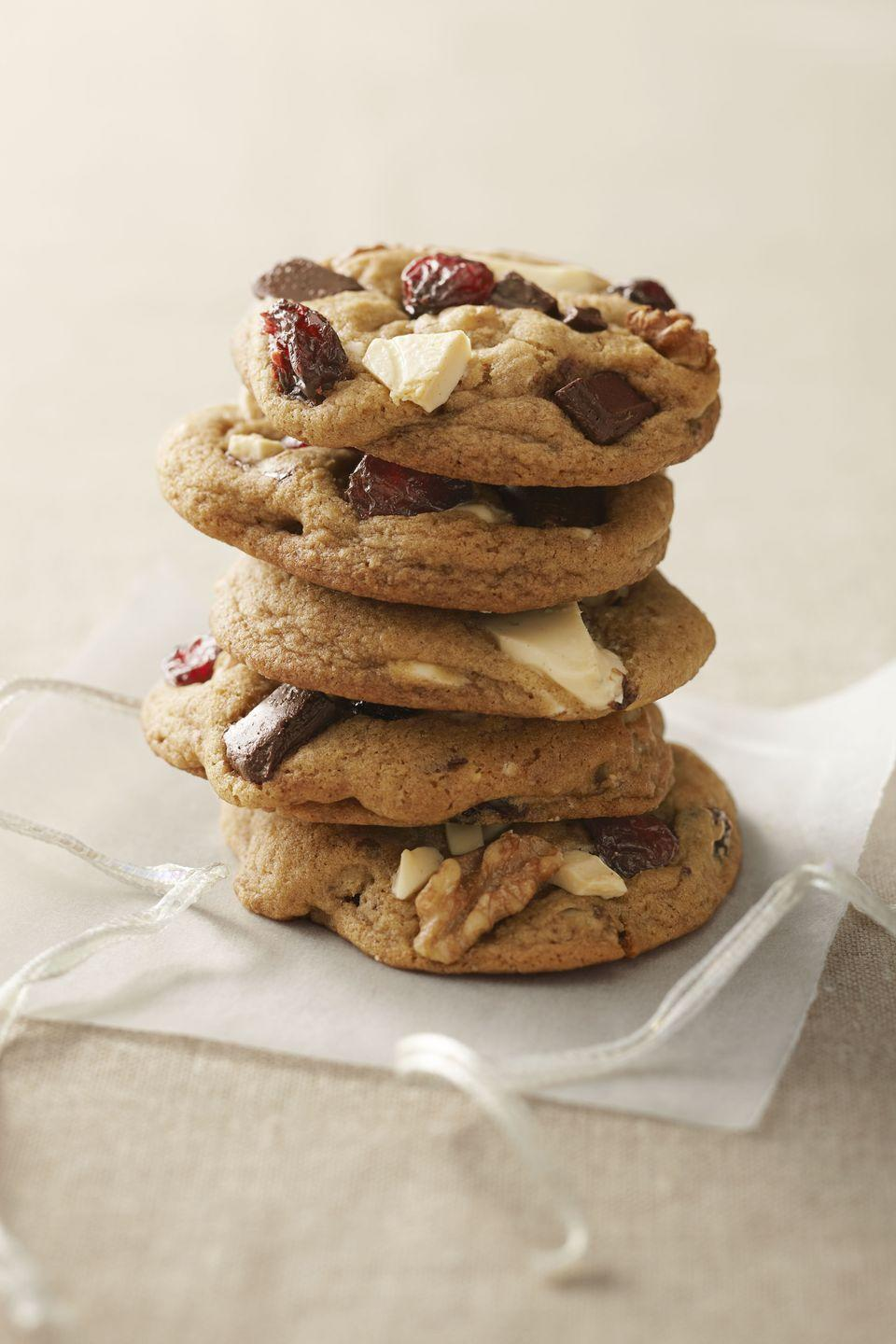 "<p>Chocolatey, gooey and accented with the tart taste of cranberries, we give these cookies our Thanksgiving stamp of approval.</p><p><a href=""https://www.goodhousekeeping.com/food-recipes/a11197/cranberry-chocolate-chunk-cookies-recipe-ghk1211/"" rel=""nofollow noopener"" target=""_blank"" data-ylk=""slk:Get the recipe for Cranberry Chocolate Chunk Cookies »"" class=""link rapid-noclick-resp""><em>Get the recipe for Cranberry Chocolate Chunk Cookies »</em></a></p>"