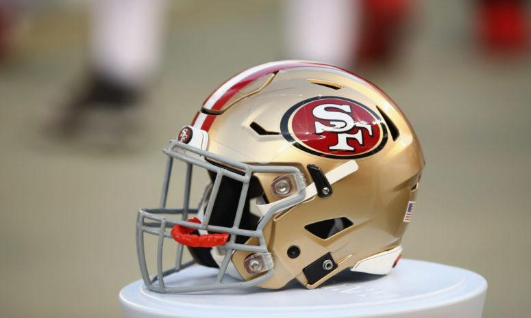 A closeup of a 49ers football helmet. Kyle Shanahan revealed his starter between Jimmy Garoppolo and Nick Mullens ahead of Week 3.