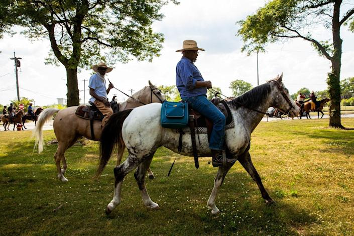 Black Chicagoan and Indiana horse owners ride through Washington Park on June 19, 2020 in Chicago, Illinois.