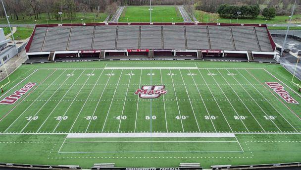PHOTO: An aerial view of an empty McGuirk Alumni Stadium at the University of Massachusetts Amherst, on April 30, 2020, in Amherst, Mass. (Boston Globe via Getty Images)